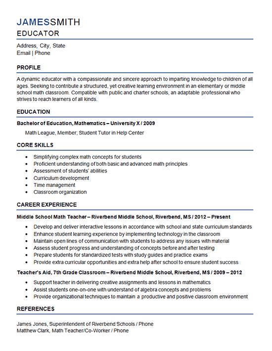 resume37 middle school teacher