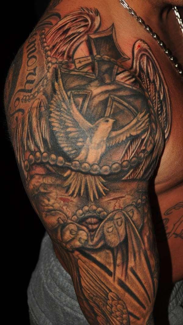 Classic Right Half Sleeve Christian Tattoo