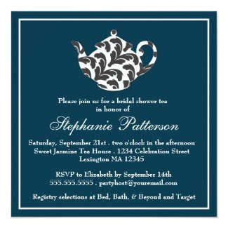 Chic Navy & White w Damask Bridal Shower Tea Party Custom Invitation