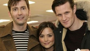 David Tennant, Jenna-Louise Coleman and Matt Smith at the 50th anniversary show read-through in April
