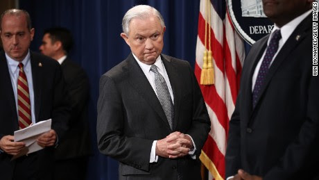 """WASHINGTON, DC - MAY 12:  U.S. Attorney General Jeff Sessions arrives for an event at the Justice Department May 12, 2017 in Washington, DC. Sessions was presented with an award """"honoring his support of law enforcement"""" by the Sergeants Benevolent Association of New York City during the event, but did not comment on recent events surrounding the firing of FBI Director James Comey.  (Photo by Win McNamee/Getty Images)"""