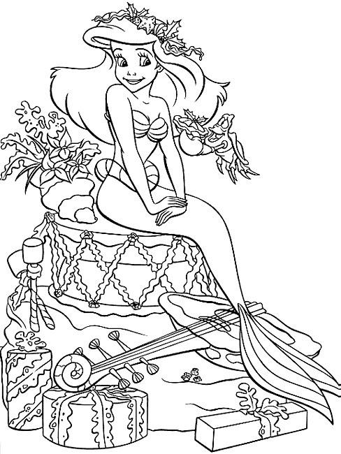Coloriage De Noël Princesse Ariel à Imprimer Sur Coloriage De Com
