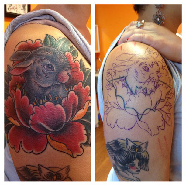 Lotus Rabbit Cover Up Tattoo On Shoulder Best Tattoo Ideas Gallery