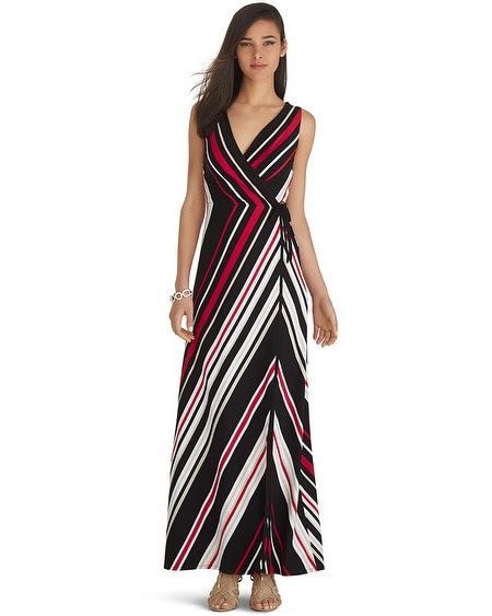 Sleeveless Wrap Stripe Maxi Dress
