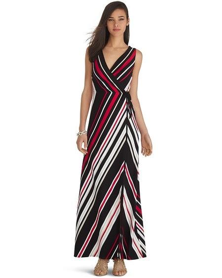 Sleeveless Wrap Stripe Maxi Dress