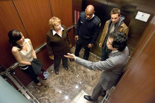 Five corrupt people get stuck on an elevator together in DEVIL.