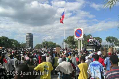 Thousands of Haitians demonstrated throughout Haiti on December 16, 2008. The date commemorated Haitis first free and democratic elections in 1990 that signaled the birth of the Lavalas political movement.