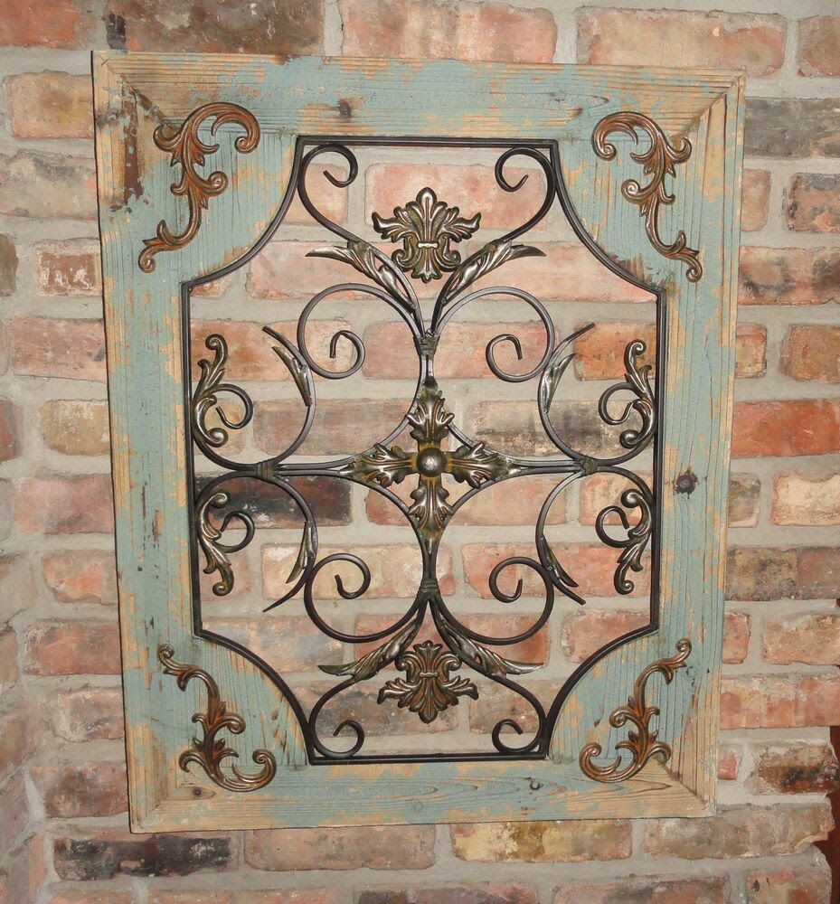 Rustic Wood Frame Window Metal Wall Decor Cottage Chic ...