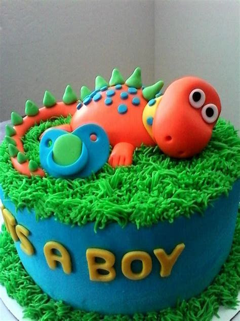 Red Baby Dinosaur Baby Shower Cake   Lovebug's Edible Designs