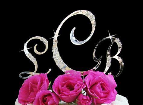 French Flower ~ Swarovski Crystal Wedding Cake Toppers