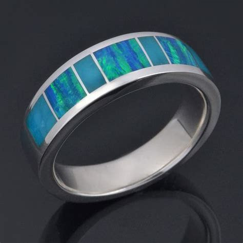 Lab created opal ring with birdseye turquoise inlaid in