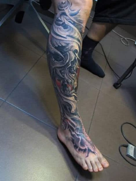 50 3d Leg Tattoo Designs For Men Manly Ink Ideas