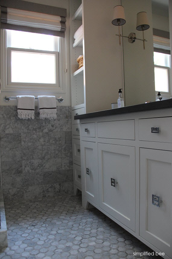 White Bathroom Vanity With Gray Counter Simplified Bee Simplified Bee