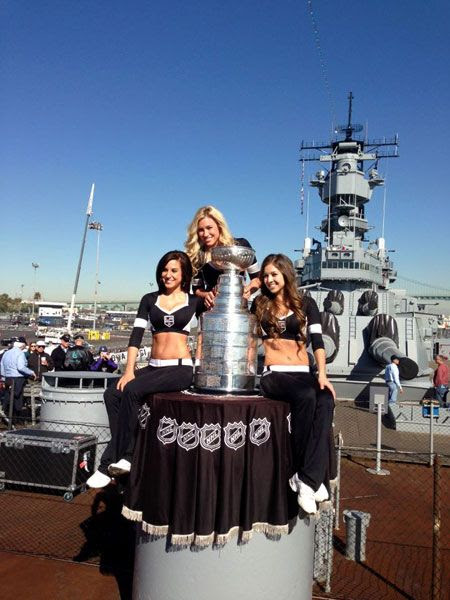 The Los Angeles Kings' Ice Crew poses with the Stanley Cup aboard the USS Iowa in San Pedro, on January 16, 2013.