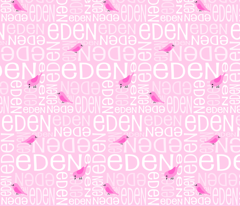 Personalised Name Fabric - Pink Birds