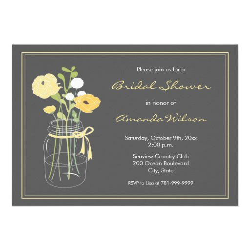 Grey and Yellow Rustic Mason Jar Bridal Shower Card from Zazzle.com