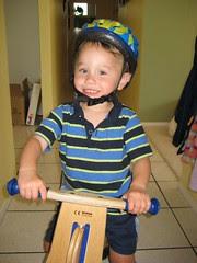 Boy on bike with helmet