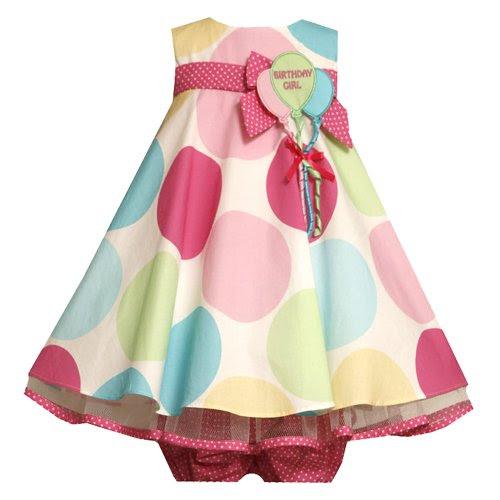 Bonnie Jean Baby Newborn 3M-9M Red Multi Big Floral Print Flower Back Applique Dress
