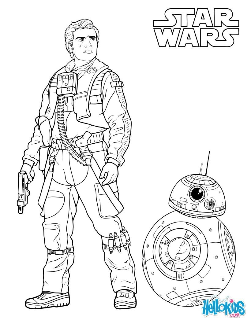 Chewbacca Poe Dameron and BB 8 coloring page