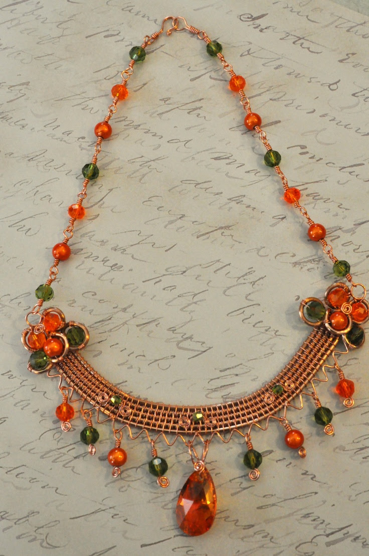 Wire Wrapped Necklace w/ Orange Lucite & Swarovski Crystal. $60.00, via Etsy.