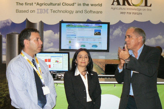 From left, AKOL CEO Ron Shani, Agriculture Minister Orit Noked, and Michael Oren of IBM's Global Tech Unit.