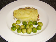 Spicy Cottage Pie with Nutmeg Brussels Sprouts