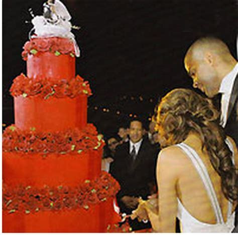 Tony Parker and Eva Longoria wedding cake in red with red