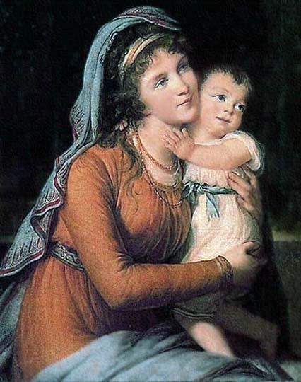 Dama y niño en vestido de la época por la neoclásica Vigée Le Brun.