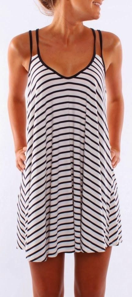 Jean Jail Light Weight Stripes Dress-this would be cute at the beach!
