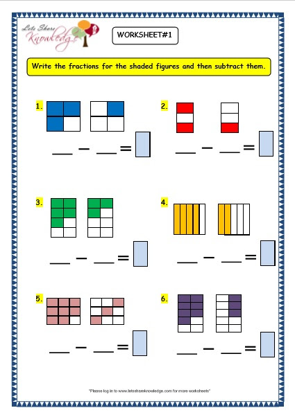 Grade 3 Maths Worksheets: (7.7 Subtracting Fractions ...