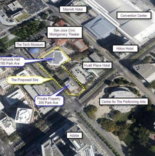 The area highlighted in yellow shows the development opportunity. The city's Office of Economic Development has issued a request for qualifications to developers for the site.