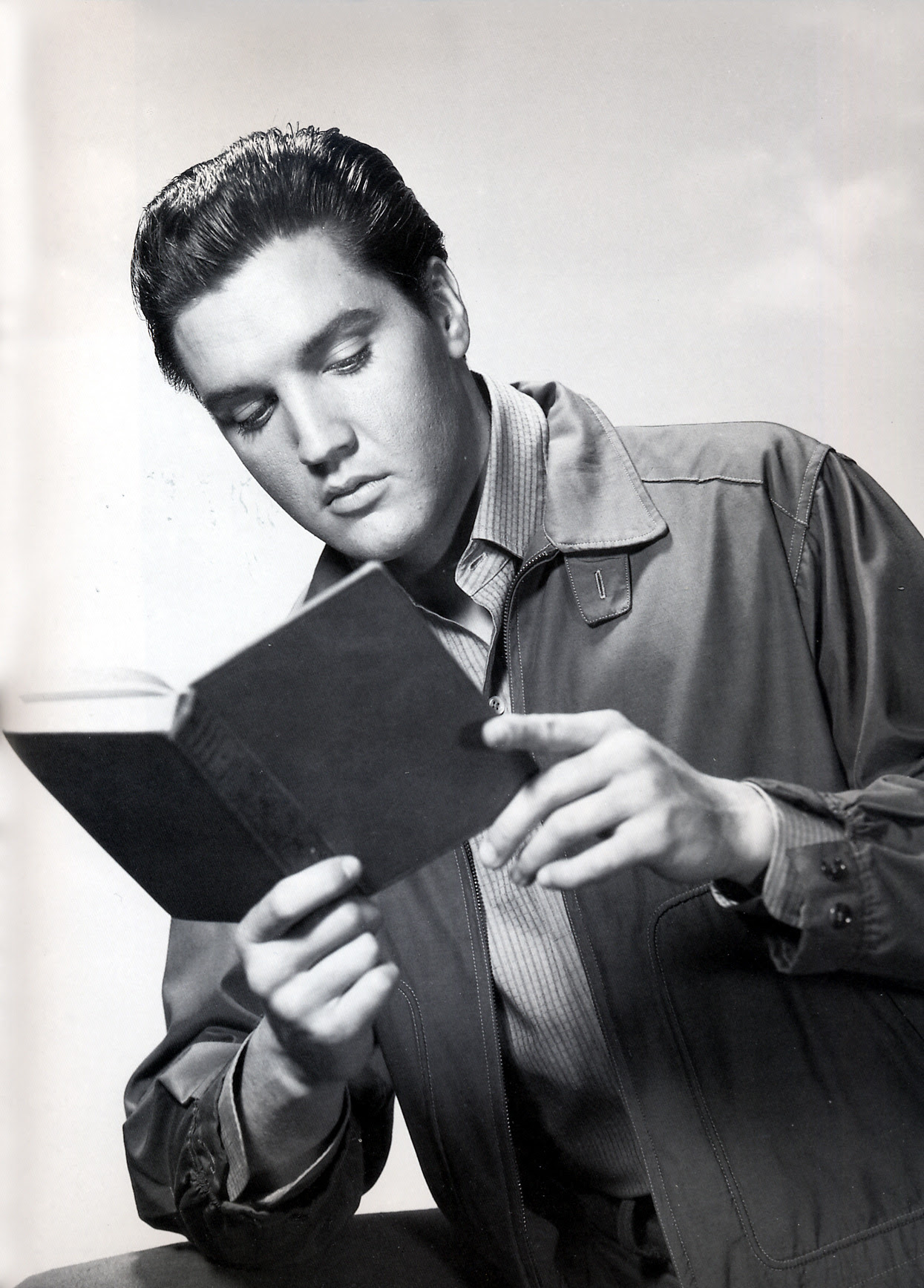 "Elvis reading, 1961. Elvis' favorite book list (books 1-10): The Impersonal Life; The Initiation of the World; The Prophet; The Mystical Christ; The Secret Doctrine; Life and Teachings of the Masters of the Far East; The Leaves of Morya's Garden, Volumes I & II; Red Tree (by ""Christine Hayes"" - Maia Christianne Nartoomid); The Philosophy of Shopenhauer; Life of Christ"