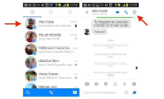 Acessando a tela de configurações de um chat do Facebook Messenger no Android (Foto: Reprodução/Marvin Costa)
