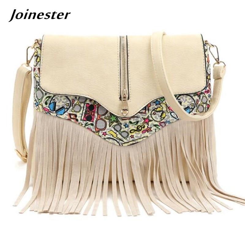 Sale Women's Retro Vintage Fringe Tassel Shoulder Bag Ladies Commuting Functional Purse Bag Shopping Travel Satchel Messenger Bag
