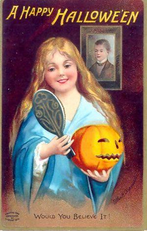 A greeting card / postcard about Hallowe'en