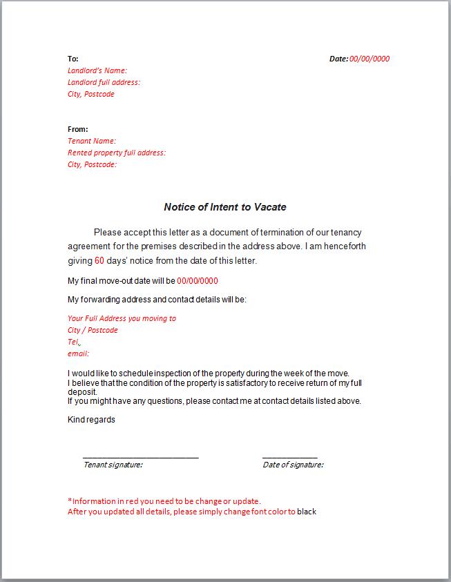 Sample Notice Letter To Landlord London Man Van