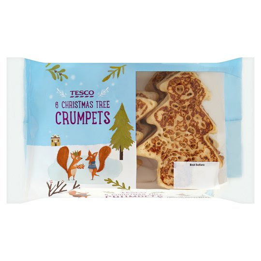 Tesco Christmas Tree Crumpet 6 Pack