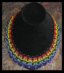 Rainbow Collar Necklace Tutorial Instant by Violetbead on Etsy