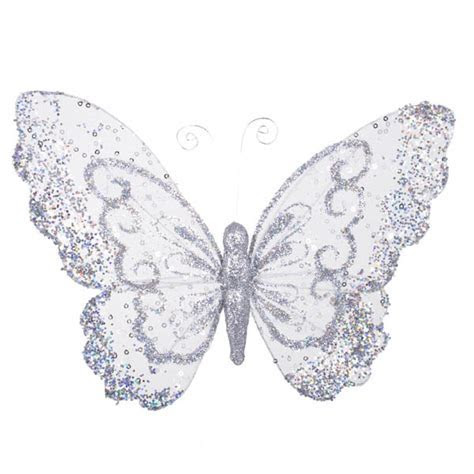 Silver Glitter & Lace Butterfly On Clip   27cm x 21cm