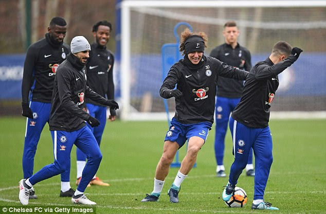 David Luiz tries to get the ball back in training on Friday ahead of FA cup tie against Newcastle