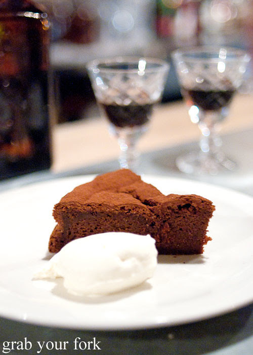 flourless chocolate cake at freda's chippendale