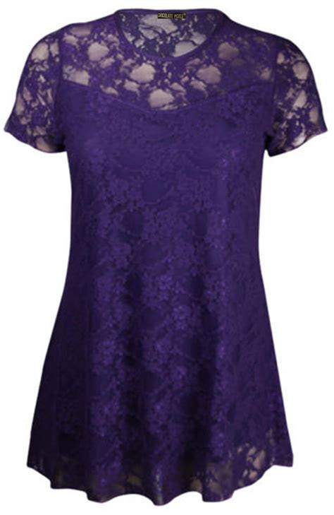 ladies contrast floral lace tunic tops   ebay