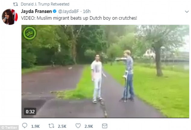 The first video President Trump posted depicted 'Muslim migrant' according to Jayda Fransen, beating up a 'Dutch boy on crutches'