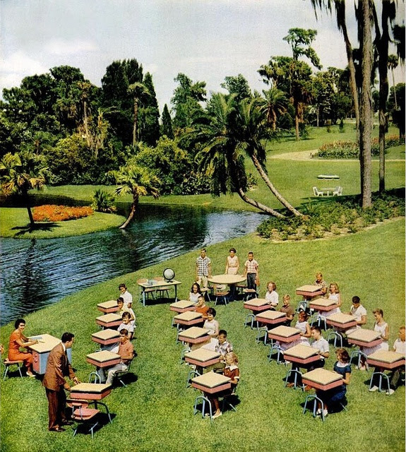 An outdoor classroom pictured in an American Seating ad from 1959. #vintage #school #desks #students #1950s