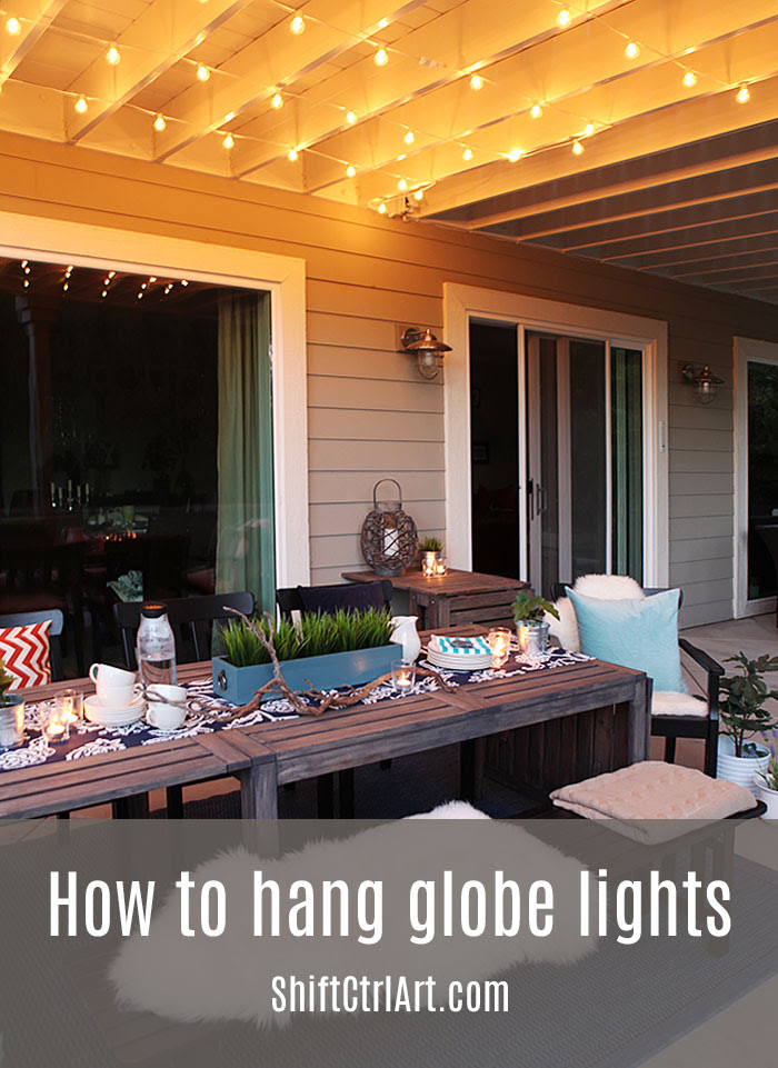 How to: hanging globe lights over the patio dining area