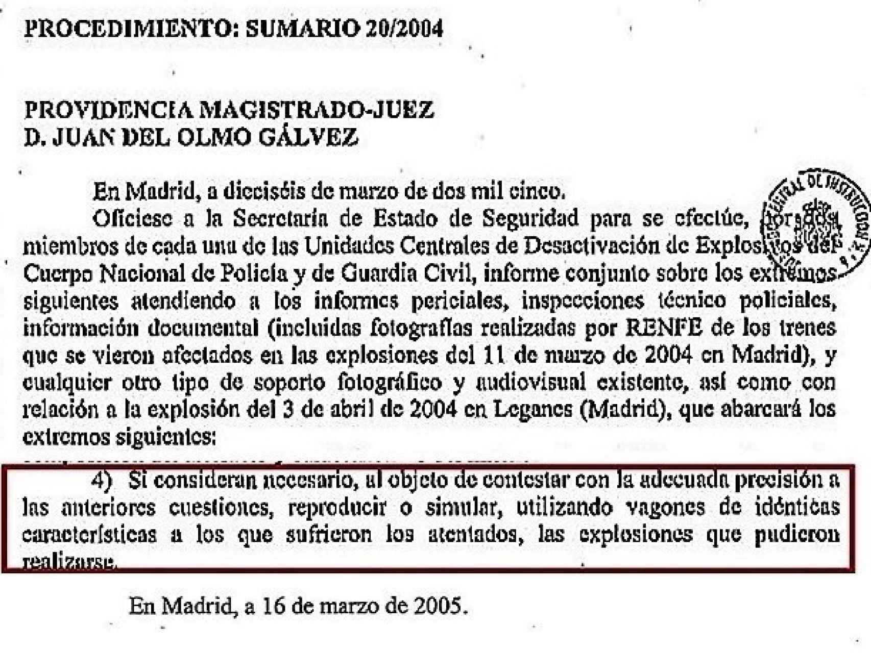 Fragmento de la providencia por la que el juez Del Olmo ordenaba realizar un informe conjunto Policía Guardia - Civil