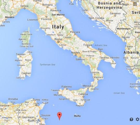 Lampedusa on map Italy 540x480