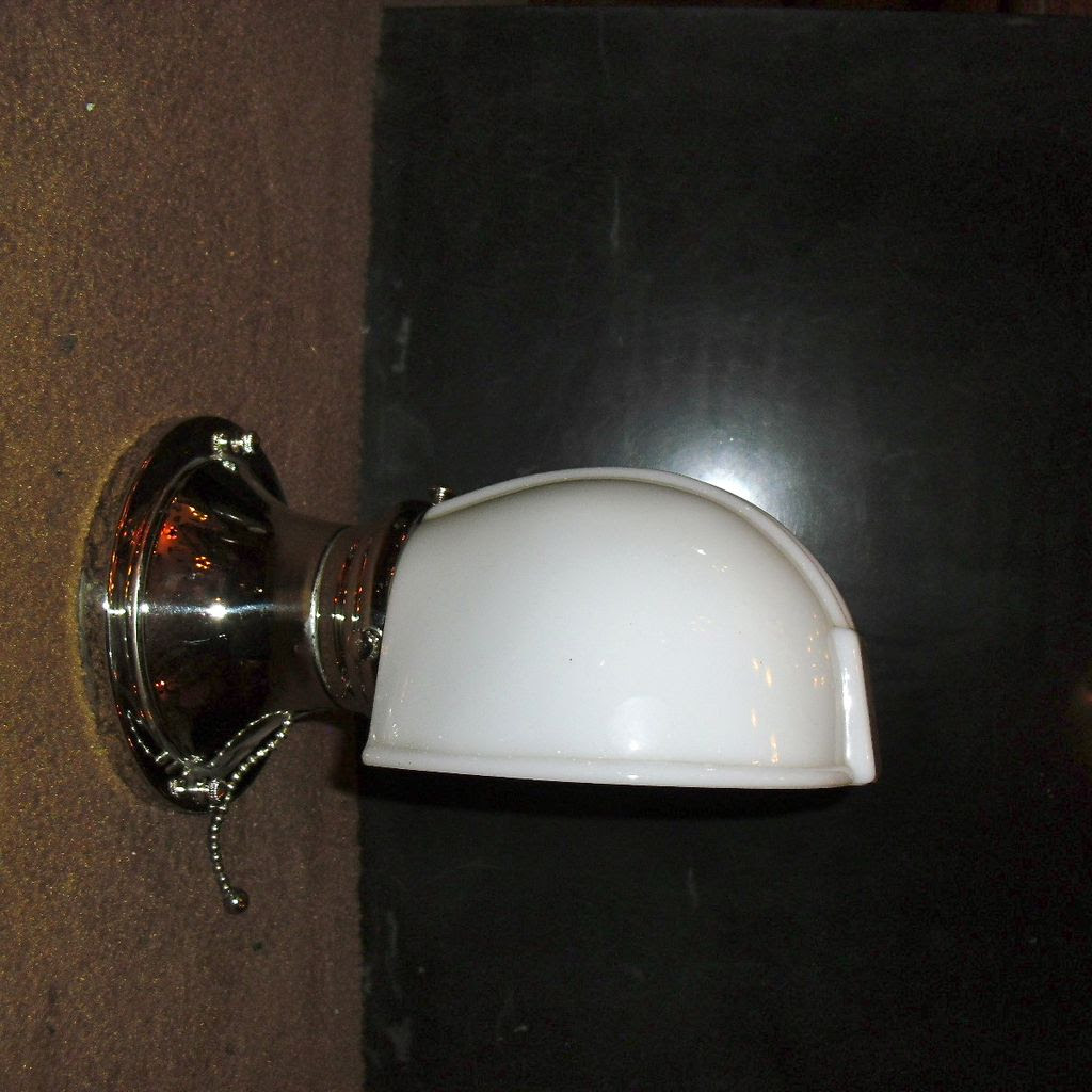 Bathroom Sconce - Milk Glass Shade on Nickel Plated Fixture from ...