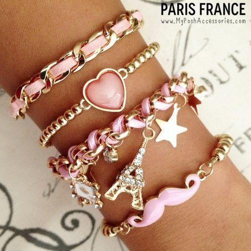 Pink and Gold Bracelets