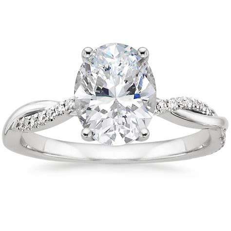 18K White Gold Petite Twisted Vine Diamond Ring from